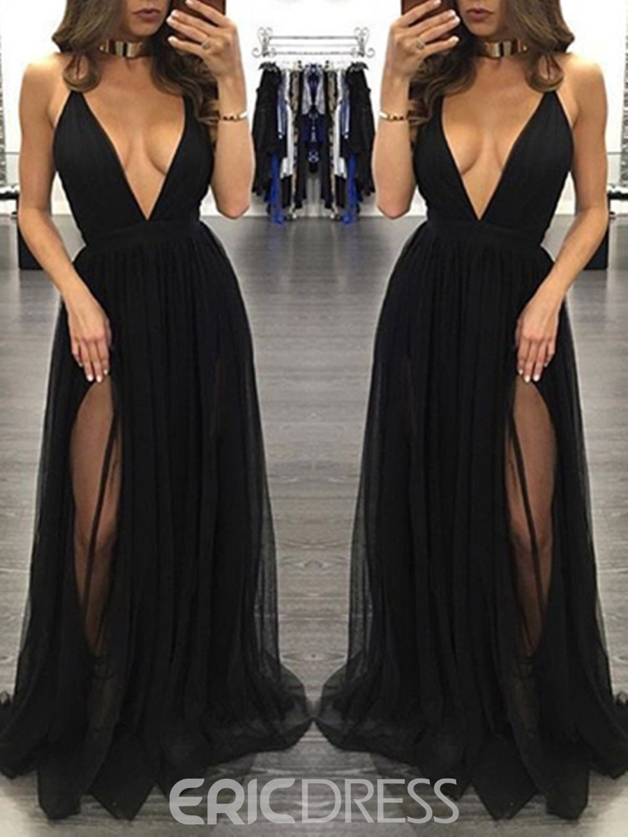 Ericdress Sexy Split-Front V Neck Black Prom Dress 12723380 ...