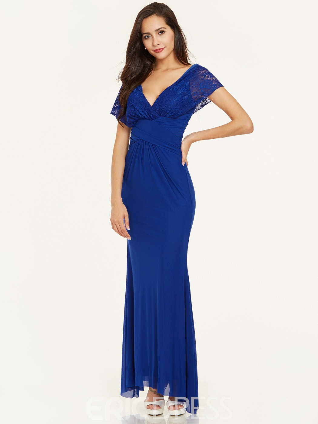 Ericdress V Neck Zipper-Up Lace Pleats Evening Dress