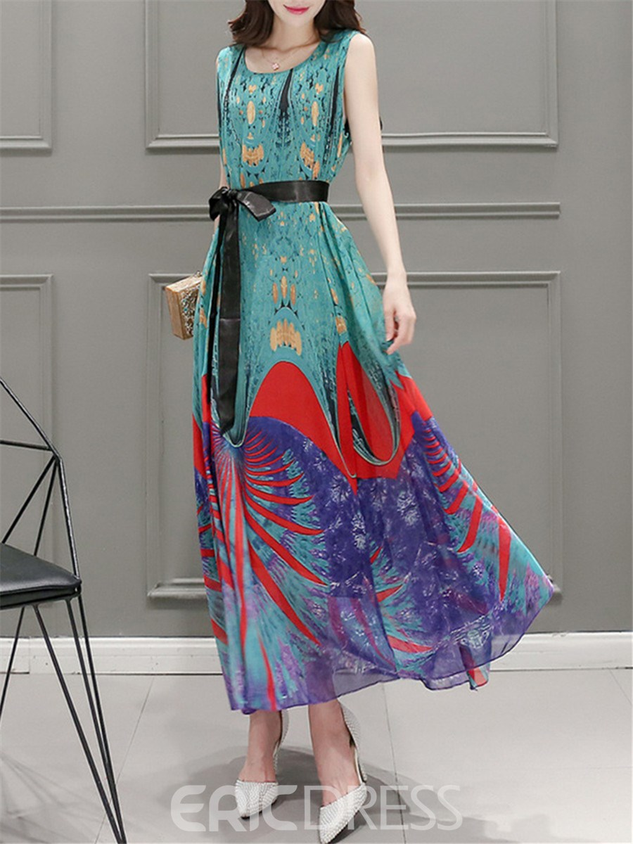Ericdress Bohemian Floral Bowknot Expansion Maxi Dress