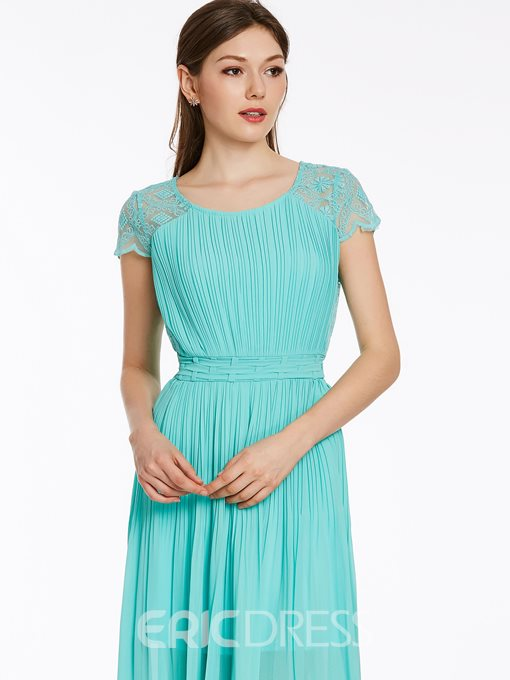 Ericdress Soild Color Pleated Round Neck Maxi Dress