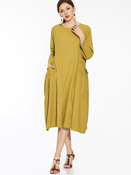 Ericdress Pleated Pocket Patchwork Loose Maxi Dress