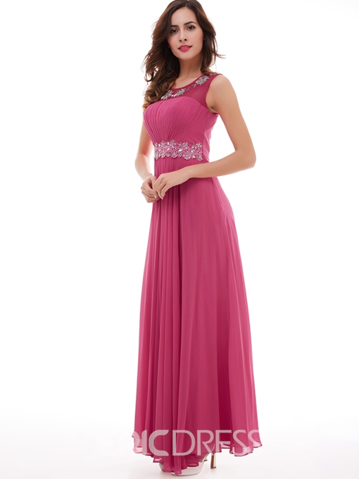 Ericdress A Line Beading Appliques Pleated Chiffon Long Evening Dress
