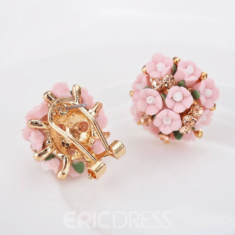 Ericdress Ceramic Flowers Stud Earrings
