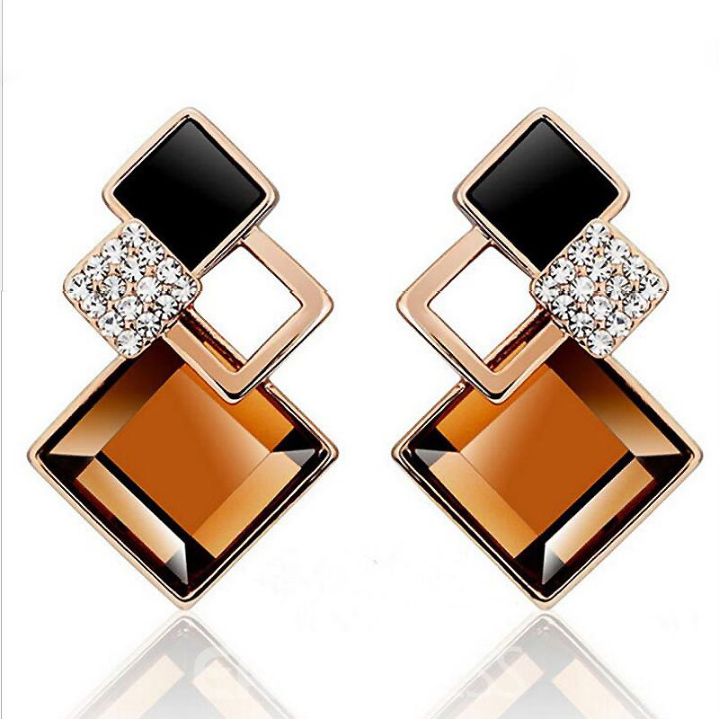 Gem Diamond-Shaped Geometry Earrings