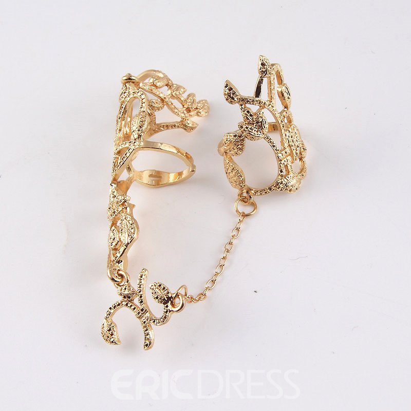 Ericdress Hollow Out Leaf Golden Ring
