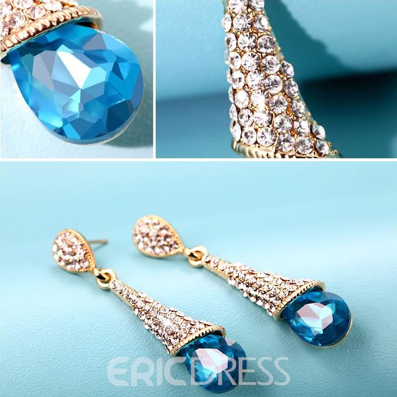 Ericdress Long Diamante Water Drop Earrings