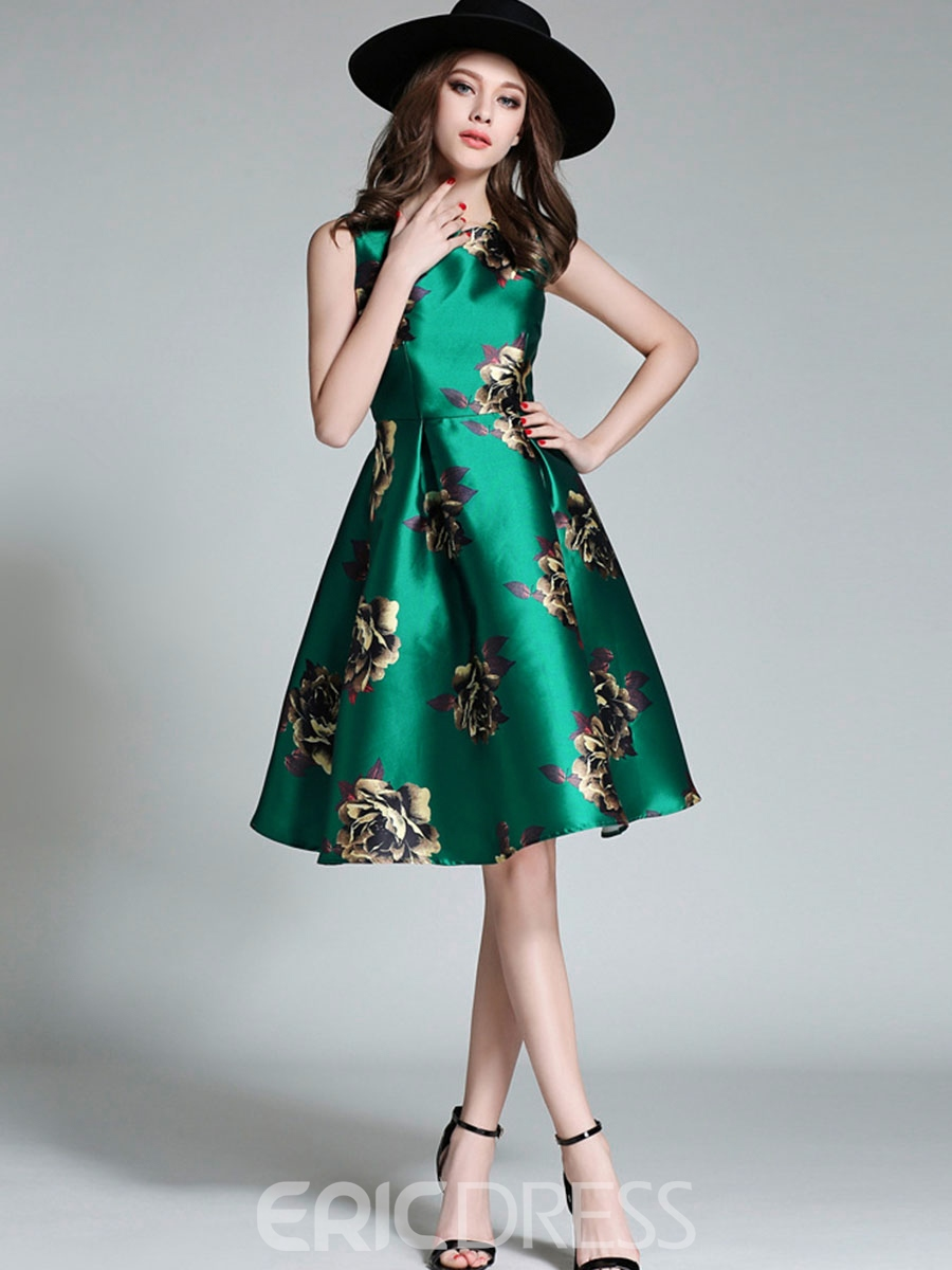 Ericdress Print Sleeveless Expansion A Line Dress
