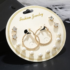 Ericdress Concise Alloy Diamante Pearl Stud Earring