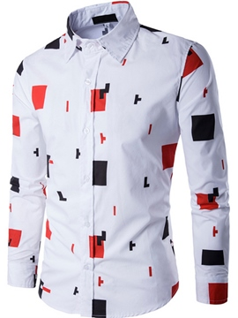 Ericdress Geometry Print Long Sleeve Men's Shirt