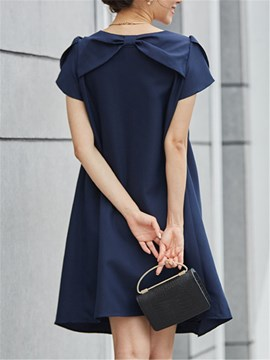 Ericdress Solid Color Round Neck Bowknot Casual Dress