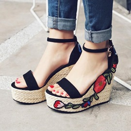 Ericdress Ethnic Embriodery Ankle Strap Wedge Sandals