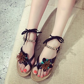 Ericdress Graceful Ethnic Bead&flower Flat Sandals