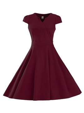 Ericdress V-Neck Stylelines Pleated Casual Dress