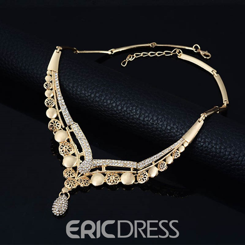 Ericdress Hollow Flower Diamante Jewelry Set