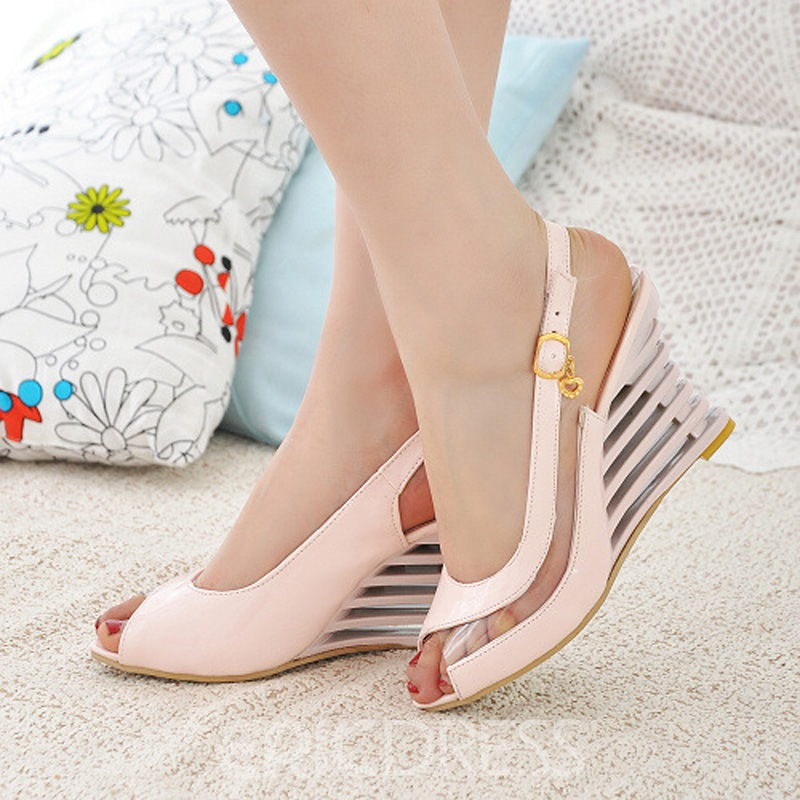 Ericdress Patent Leather Peep Toe Wedge Sandals