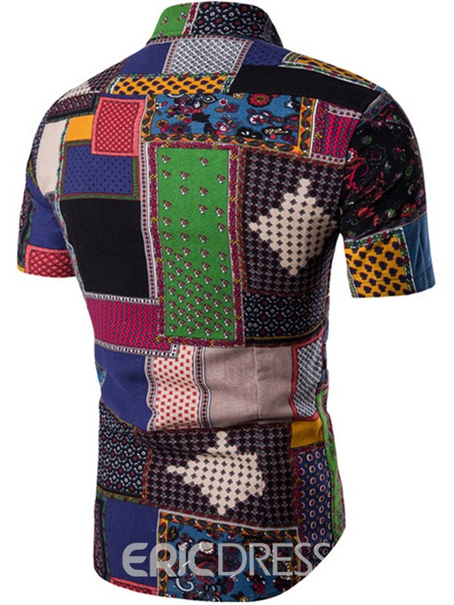 Ericdress Ethnic Style Color Block Casual Men's Shirt