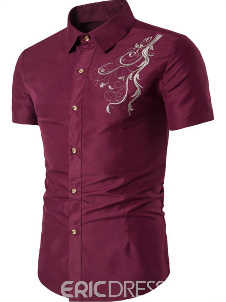 Ericdress Embroidery Short Sleeve Slim Men's Shirt