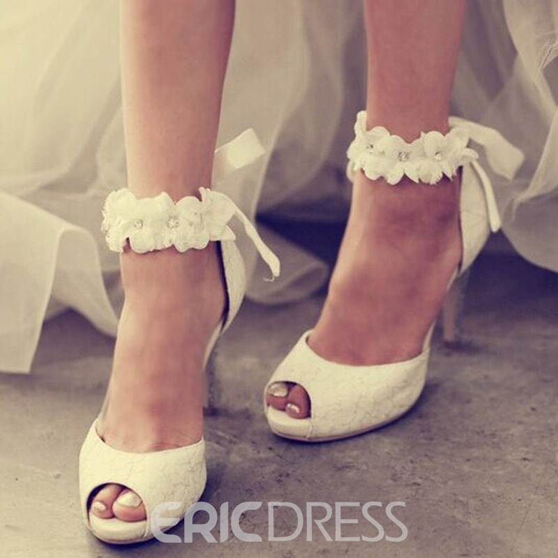 Ericdress Princess Lace Flower Peep Toe Wedding Shoes ...