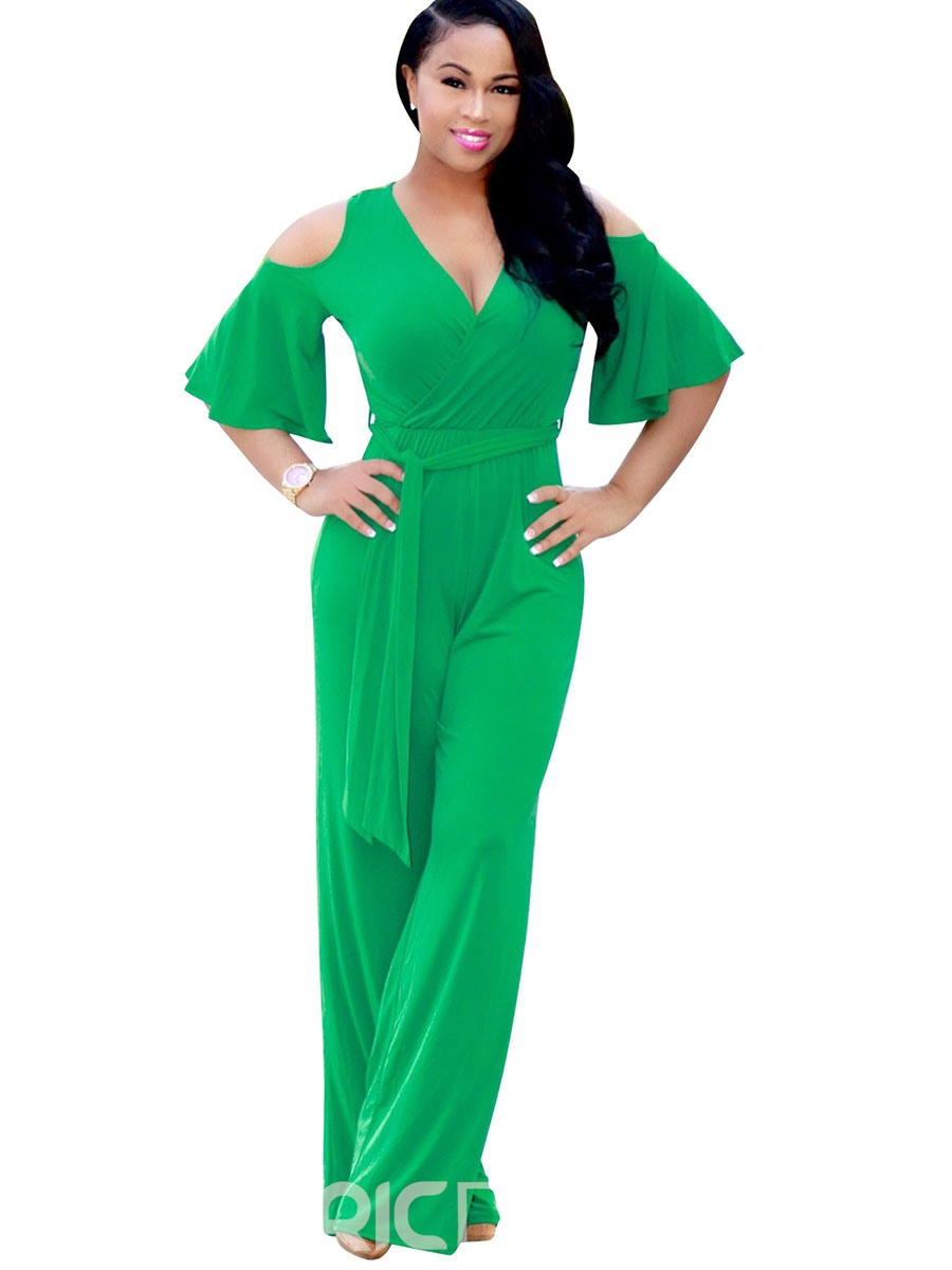 Ericdress Ruffles Lace-Up Wide Legs Jumpsuits Pants
