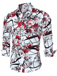 Ericdress Quality Vogue Print Long Sleeve Slim Mens Shirt