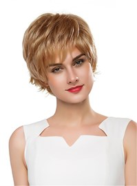Ericdress Short Wavy Layered Human Hair Capless Wig 10 Inches
