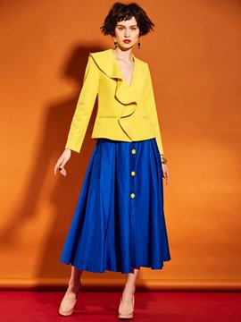 Ericdress Yellow Falbala Trim Blazer
