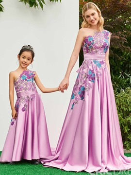 Ericdress One Shoulder A Line Appliques Matte Satin Flower Girl Dress