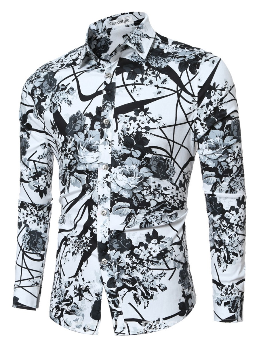 Ericdress Quality Vogue Print Long Sleeve Slim Men's Shirt