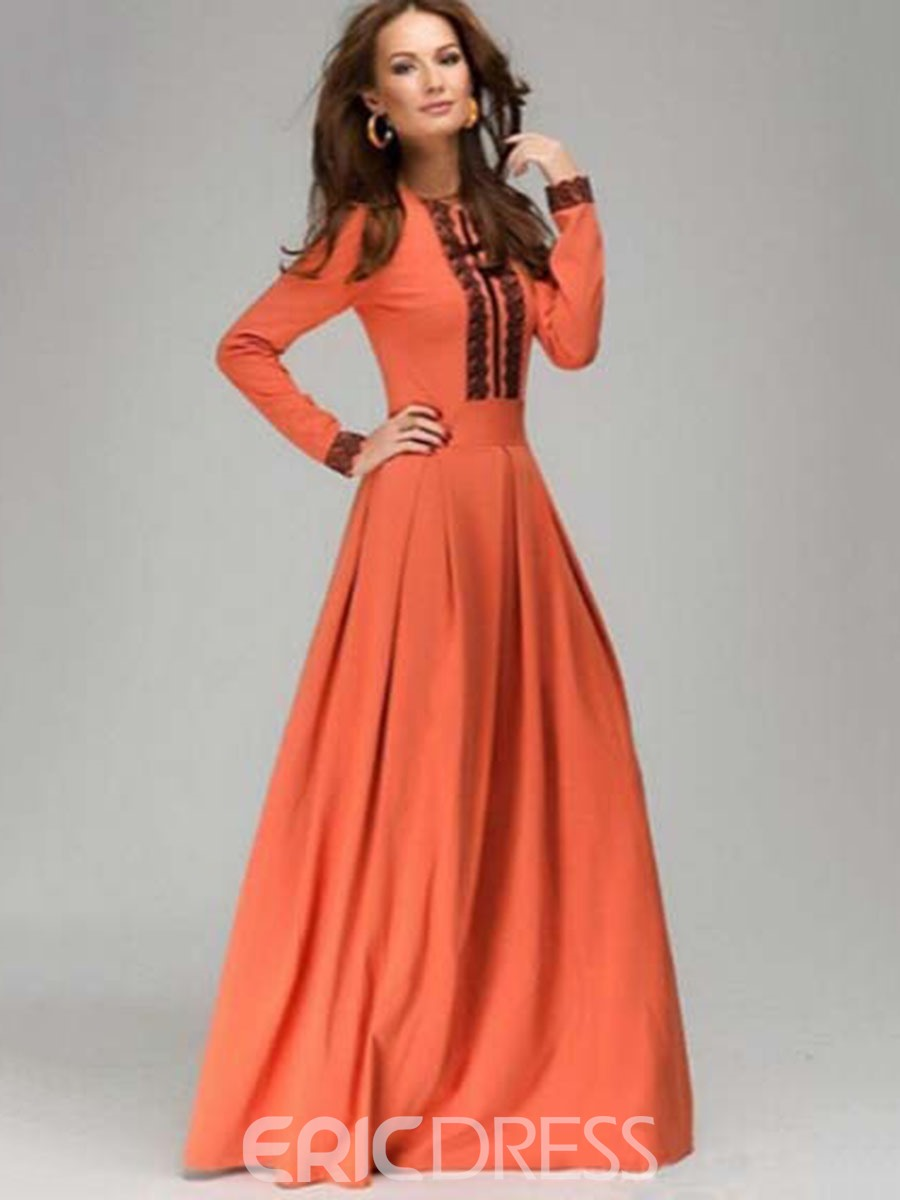 Ericdress Lace Patchwork Pleated Long Sleeve Maxi Dress