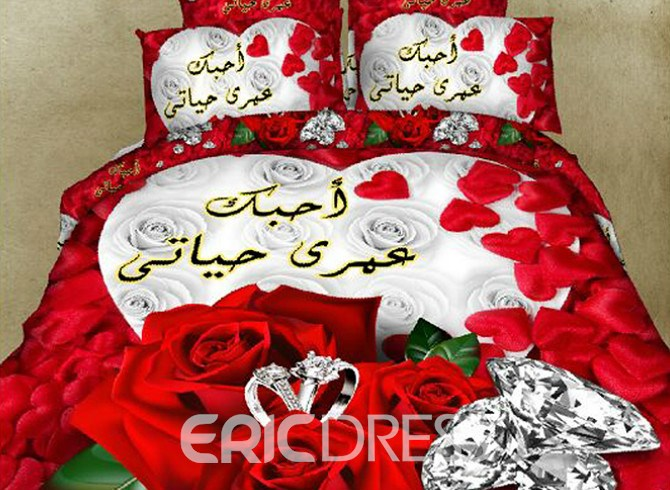 Vivilinen White and Red Roses Diamond Printing Polyester 4-Piece Duvet Cover Sets 12937520