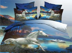 Vivilinen White Horse and Swan Couples Print 4-Piece Polyester 3D Duvet Cover Sets