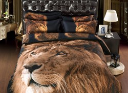 Vivilinen 3D Golden Fiece Long Fur Lion Head 3D Printed Polyester 4-Piece Bedding Sets