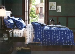Vivilinen Letters Print Blue Polyester 3-Piece Bedding Sets/Duvet Covers