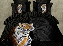 Image of 3D Animal Dark Cool Style Mighty Tiger Print Bedding Sets