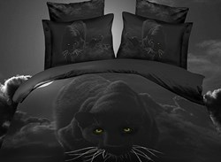 Vivilinen Personality Panther Print 4-Piece Polyester 3D Duvet Cover Sets