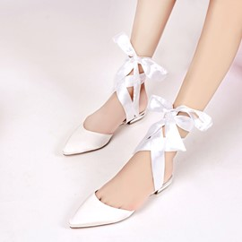 Satin Pearl Bowtie Peep Toe Wedding Shoes Reviews