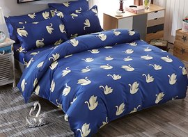 Vivilinen White Swans Prints Elegant Polyester Dark Blue Bedding Sets/Duvet Covers