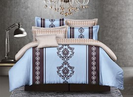 Vivilinen Arabesque Print Sky Blue 4-Piece Polyester Duvet Cover Sets