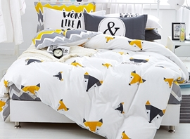 Vivilinen Cartoon Fox Print 4-Piece Cotton Duvet Cover Sets