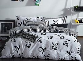 Vivilinen Panda Print Cotton 4-Piece Bedding Sets/Duvet Covers