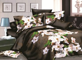 Vivilinen Fragrant Flower 3D Print 4-Piece Polyester Duvet Cover Sets