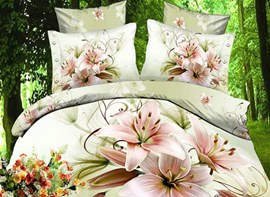 Elegant Beautiful Lily Flower Fairy 4 Piece Polyester Bedding Sets