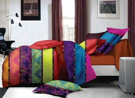 Vivilinen Colorful Stripes Print Polyester 4-Piece Duvet Cover Sets