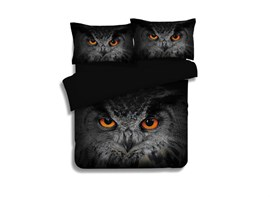 Mysterious Vivid Owl Print 4-Piece Polyester Duvet Cover Sets