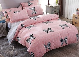 Vivilinen Pink Plaid Bowknot Prints Polyester Bedding Sets/Duvet Covers