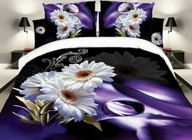 Vivilinen White Daisy Print Noble Purple 4-Piece Polyester Duvet Cover Sets