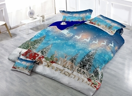 Vivilinen Christmas Gift and Reindeer Print Satin Drill 4-Piece Duvet Cover Sets