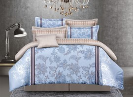 Vivilinen Arabesque Print Blue Polyester 4-Piece Duvet Cover Sets