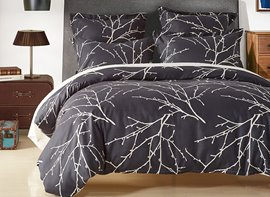 Vivilinen Black Branches Printed Polyester 3-Piece Bedding Sets/Duvet Cover