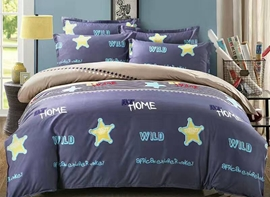 Vivilinen Concise Star Print Blue Polyester 4-Piece Duvet Cover Sets